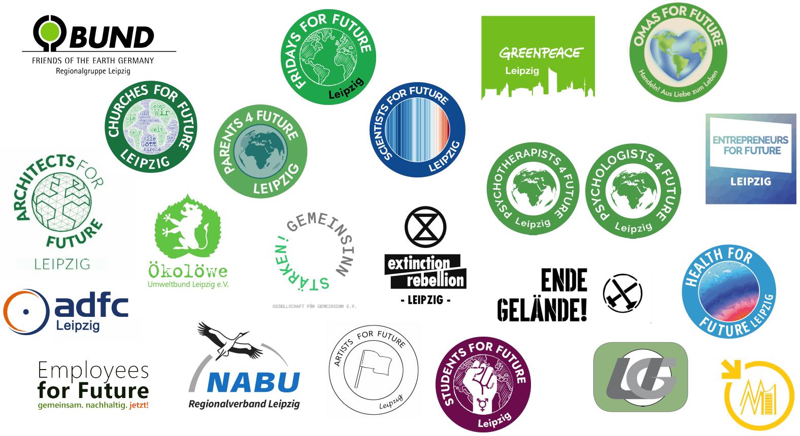 Logos Klimagruppen und Klimaverbände Leipzig