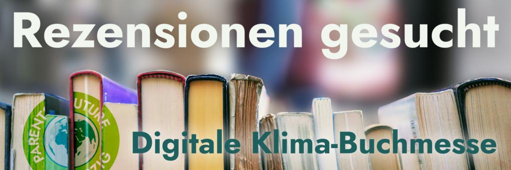 Rezensionen gesucht - Digitale Klimabuchmesse - Bücher, die auf der Seite liegen.